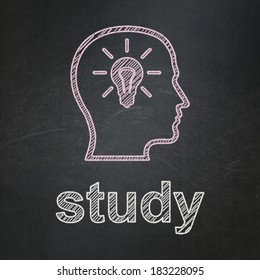Education concept: Head With Lightbulb icon and text Study on Black chalkboard background, 3d render
