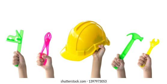 Education concept.Set of kid holding different construction tools