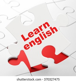 Education concept: Learn English on puzzle background