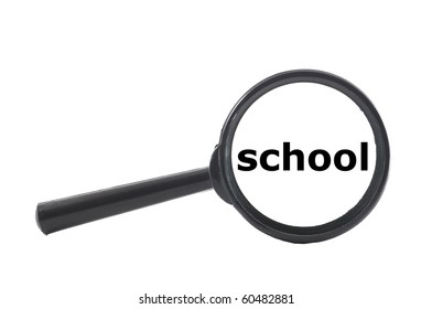 education concept with magnifying glass isolated on white background