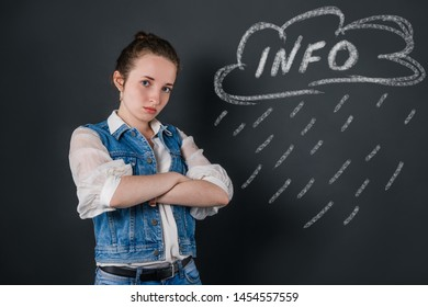 Education concept, the mass of information received in schools