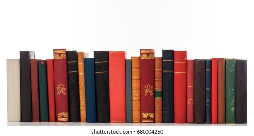 Education concept. Old books on white background