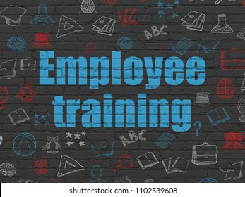 Education concept: Painted blue text Employee Training on Black Brick wall background with  Hand Drawn Education Icons