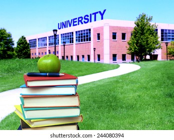 education concept: path to college or university