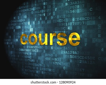 Education concept: pixelated words Course on digital background, 3d render