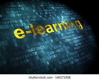 Education concept: pixelated words E-learning on digital background, 3d render