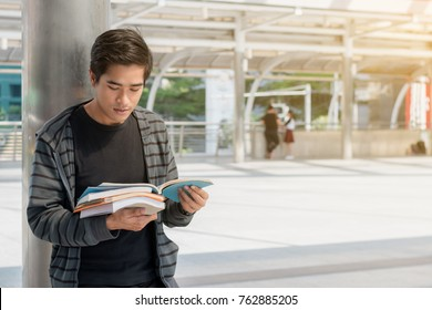 education concept : responsibility student smart learning outdoor knowledge ,selective focus