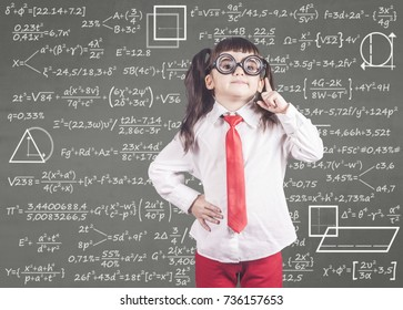 Education concept with smart school girl in front of a blackboard