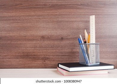 Education concept - stationery on the desk