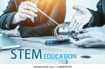 Education concept. STEM education Laboratory electronic board that can be programmed.technology, computer coding