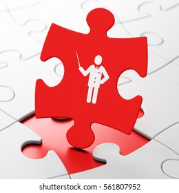 Education concept: Teacher on Red puzzle pieces background, 3D rendering