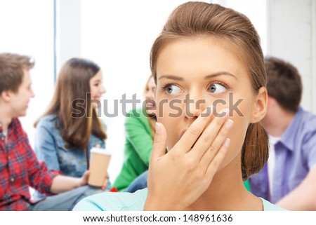 education concept - terrified  student girl at school