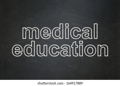 Education concept: text Medical Education on Black chalkboard background, 3d render
