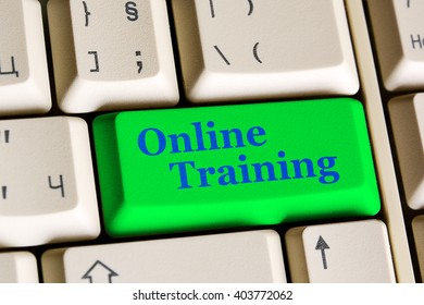 Education concept: Written word Online Training on green  keyboard button.