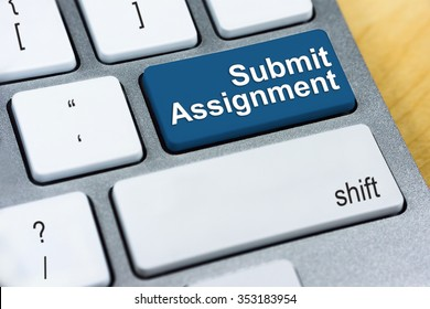 Education concept: Written word Submit Assignment on blue keyboard button.