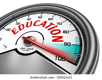 Education conceptual meter indicate hundred per cent, isolated on white background