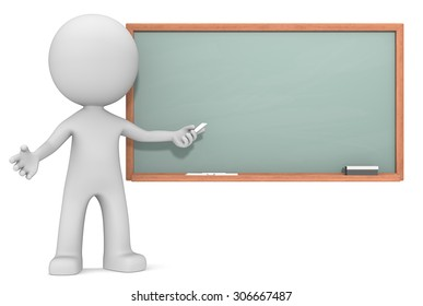 Education. The Dude 3D character holding crayon in front of Chalkboard. Copy Space.