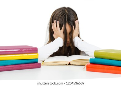 Education, elementary school, childhood and emotions concept sad or bored little student girl studying looking frustrated with learning problems. Isolated on white background