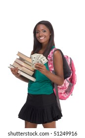 education financial aid Ethnic black African-American college student holds pile 100 (one hundred), 50 (fifty) and 20 (twenty) euro bills banknotes happy for money help to subsidize university cost