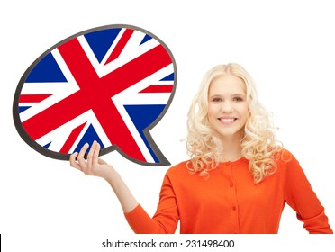 education, fogeign language, english, people and communication concept - smiling woman holding text bubble of british flag