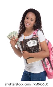 education fundraiser financial aid Ethnic black African-American college student holds pile 20 (twenty) dollar bills happy getting money help to subsidies costly university cost