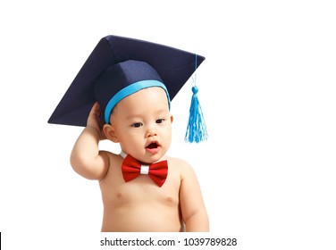 Education graduation Asian baby boy  isolated.Clipping path.