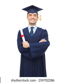 education, graduation and people concept - smiling adult student in mortarboard with diploma