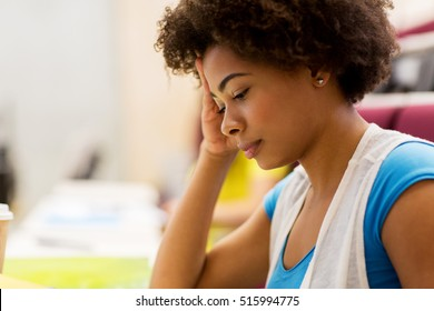 education, high school, university, learning and people concept - close up of african student girl on lecture