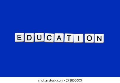 Education highlighted on white blocks