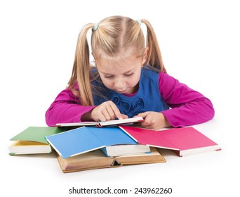 education and home concept - happy smiling girl with books