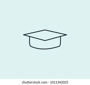 Education icon line isolated on clean background. Graduate hat concept drawing icon line in modern style.  illustration for your web site mobile logo app UI design.