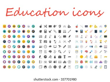 Education icons set. Flat related different styles icons set for web and mobile applications. It can be used as - logo, pictogram, icon, infographic element. Illustration.