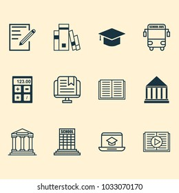 Education icons set with online education, university building, calculator and other paper elements. Isolated  illustration education icons.