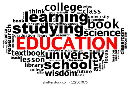 EDUCATION info text graphics and arrangement concept (word clouds) on white background
