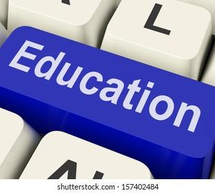 Education Key On Keyboard Meaning Teaching Schooling Or Training