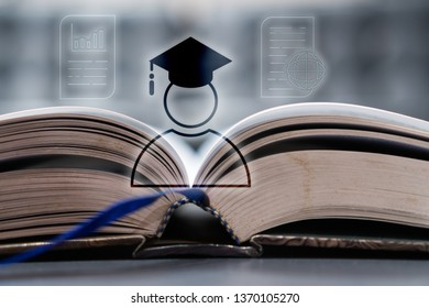 Education knowledge learning study abroad international Ideas. People sign flat icon vector with graduation celebrating cap on open old textbook for reading in library classroom. Success in university