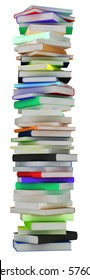 Education and knowledge. Tall heap of hardcovered books isolated over white. Extralarge resolution