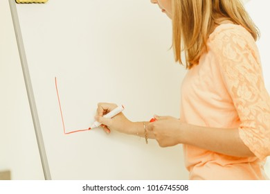 Education, knowledge, wisdom and learn new things concept - student girl writing Learning word on whiteboard inviting to join