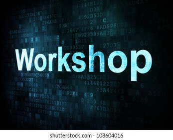 Education and learn concept: pixelated words workshop on digital screen, 3d render