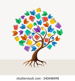 Education and learning concept with colorful abstract tree book illustration