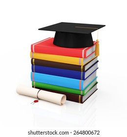 Education and Learning Concept. Graduation Cap with Diploma and Stack of Colorful Books isolated on white background