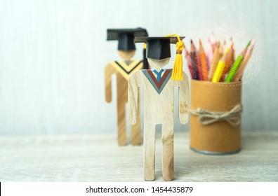education learning concept, university knowledge achievement for study abroad international,alternative studying idea.Models graduation celebration pencils box gear radar HUD background,Back to School