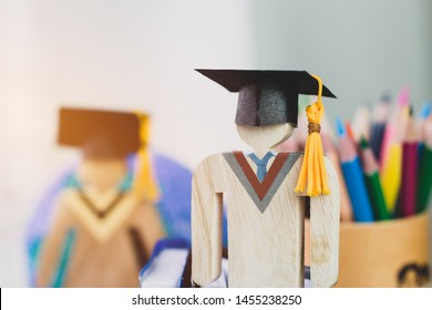 education learning concept, university knowledge achievement for study abroad international, alternative studying idea. Models graduation celebration pencils box background, Back to School.