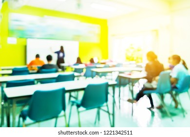 Education, learning, high school concept, Group of school kids with teacher sitting in classroom. (Blur image concept)
