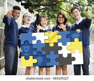 Education Learning Puzzle Pieces Graphic