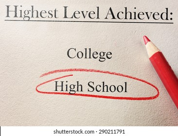 Education level survey or job application with High School circled in red
