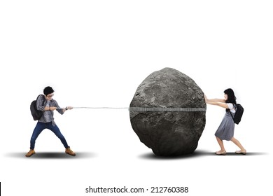 Education problem with students pulling and pushing heavy stone