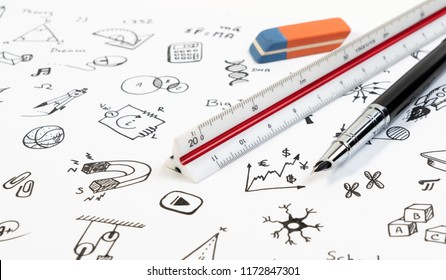 Education and school background with school knowledge, skill in doodle draw icon and student equipment pen and ruler.