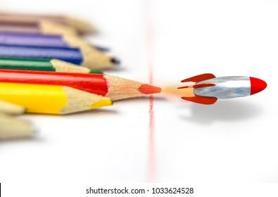 education school competitive advantage pencils missile rocket