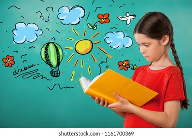 Education and school concept -  little student girl with  book